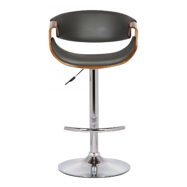 Picture of Butterfly Adjustable Swivel Barstool in Black with Chrome Finish and Walnut Wood