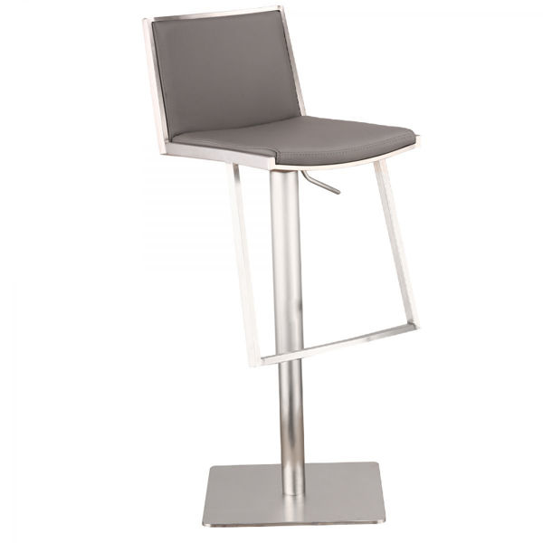 Picture of Ibiza Adjustable Brushed Stainless Steel Barstool in Gray