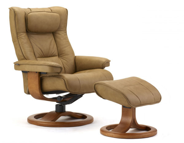 Picture of Small Brown Hassel Classic Comfort Chair with Ottoman