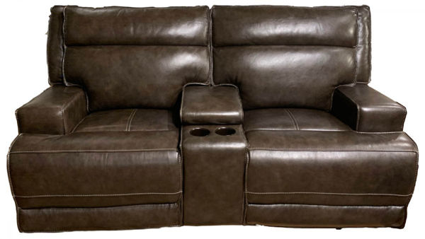 Picture of Leather E1270 Contemporary Electric Motion Loveseat with Console.