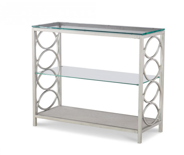 Picture of Cinema By Rachael Ray Shadow Grey Glass Top Sofa Table
