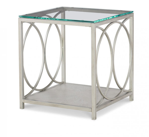 Picture of Cinema By Rachael Ray Shadow Grey Glass Top End Table