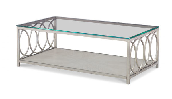 Picture of Cinema By Rachael Ray Shadow Grey Glass Top Rectangular Cocktail Table