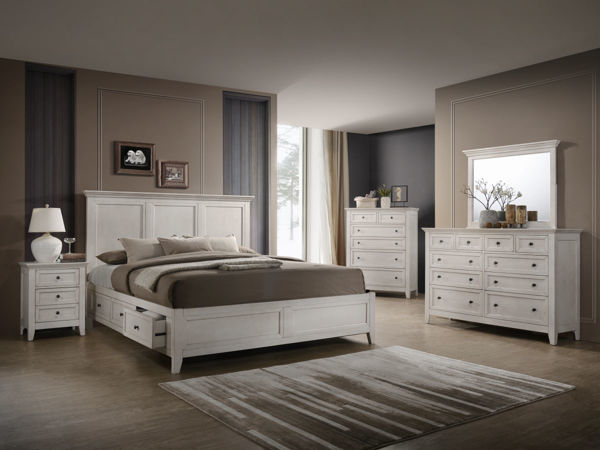 Picture of Queen San Mateo Rustic White Platform Bed with 4 Drawer Storage