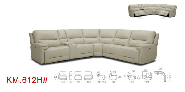 Picture of 6 Pc.  Fabric Sectional with 3 Power Seats