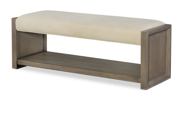 Picture of High Line By Rachael Ray Greige Finish Upholstered Bench with Shelf