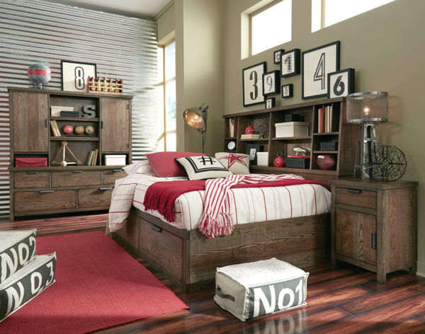 Picture of Fulton County Tawny Brown Finish Bookcase Lounge Full Bed