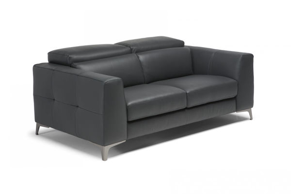 Picture of Natuzzi Italia Algo taupe leather loveseat with manual adjustable headrest.
