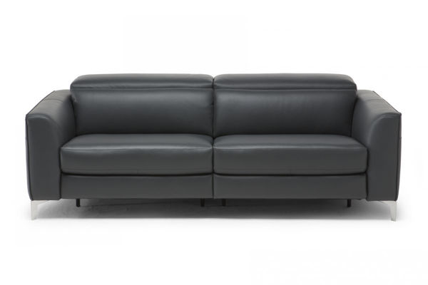 Picture of Natuzzi Italia Algo taupe leather sofa with two electric reclining function.