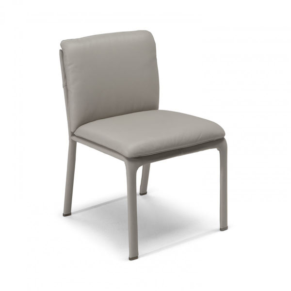 Picture of Natuzzi Italia Ambra dining chair, leather anthracite cover.