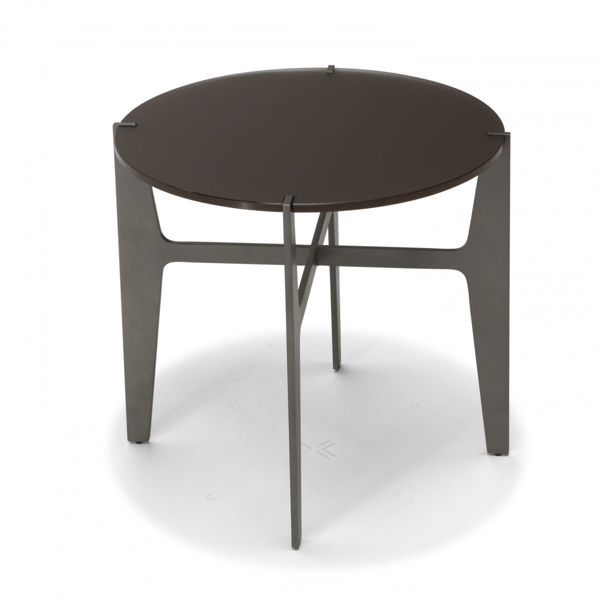 Picture of Natuzzi Italia Ido square accent table. calcutta gold marble top with metal pewter frame and leg
