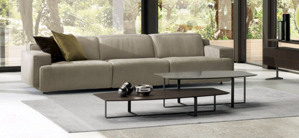 Picture of Natuzzi Italia Iago, dark grey leather sectional with two electric recliners.