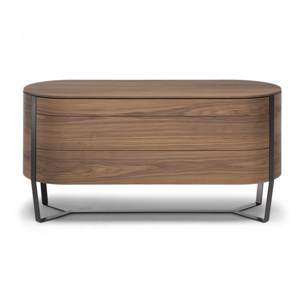 Picture of Natuzzi Italia Venere walnut chest with glossy black chrome finish.