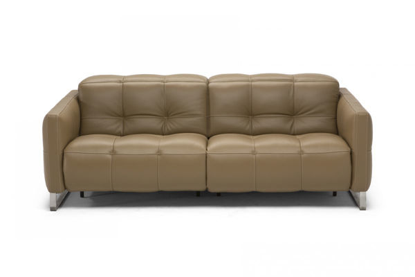 Picture of Natuzzi Italia Philo, light grey leather sofa with two electric recliners.
