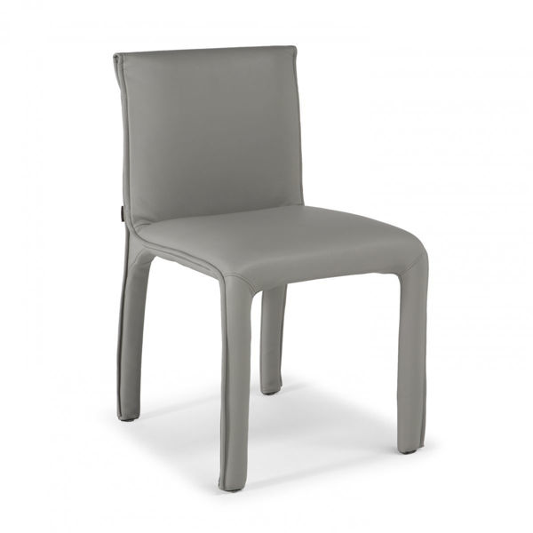 Picture of Natuzzi Italia Heidi leather dining chair in light grey with a taupe hue.
