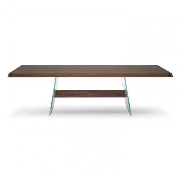 Picture of Natuzzi Italia Phantom dining table in walnut finish.